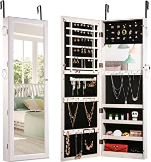 Jewelry Organizer Jewelry Armoire Lockable Jewelry Chest Jewelry Cabinet Wall Door Mounted Full Length Mirror Dressing Mirror Makeup Mirror Earring Organizer 6LEDs Lights Hanging Wall Mirror Jewelry