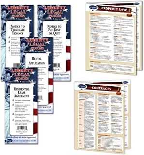 Landlord Property Management - Legal Forms Kit (Notice to Terminate form, Notice to Pay/Quit Rent form, Rental Application form, Residential Lease Agreement forms) & 2 laminated Legal Reference Guides