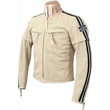 カドヤ(KADOYA) バイク用レザージャケット パンチングレザー SELECT SLEEVER-PL アイボリー/ブラック M No.1154