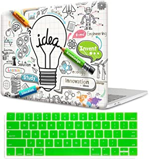 MTAOTAO Plastic Pattern White Creative Bulb Hard Shell Case with Keyboard Cover for MacBook Air 13 Inch (Model A1466/A1369)