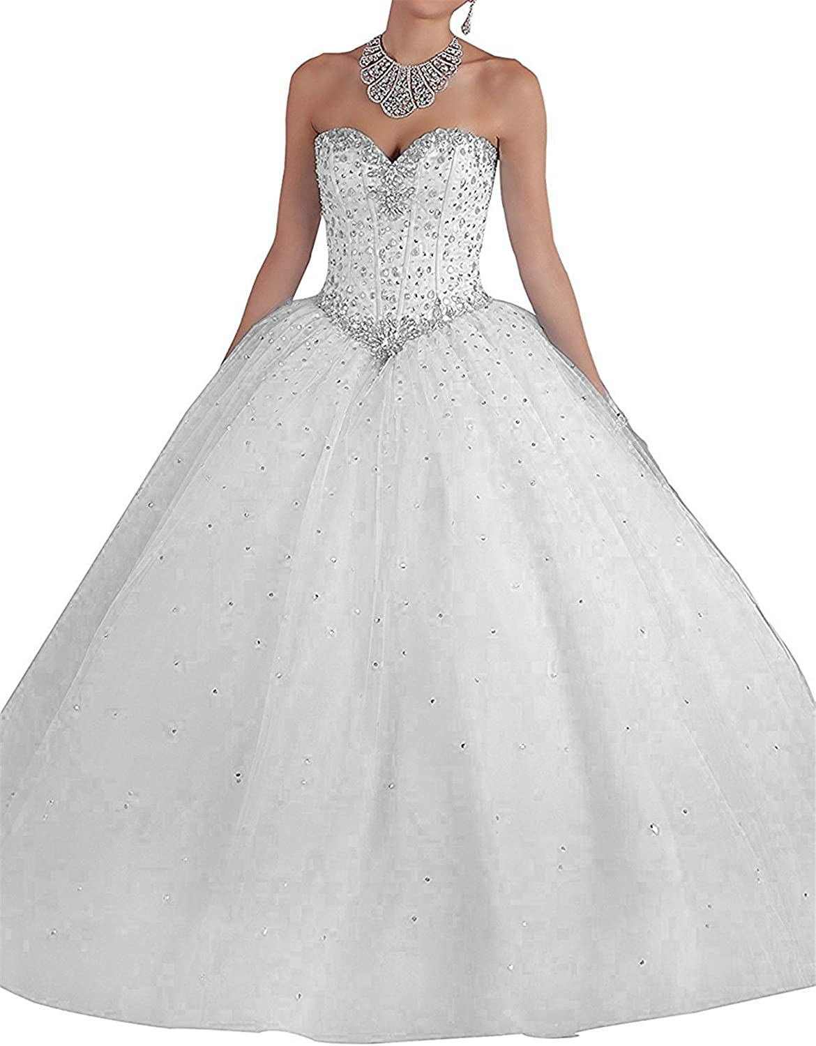 BEALEGAN Lady Women's Crystal Quinceanera Dresses Tulle Prom Party Gown