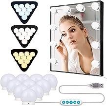 Anmossi Make-Up spiegellamp,Hollywood Style LED-Spiegellampen met 10 Dimbare LED-Lampen,3 Kleurmodi en 5 Helderheid,3200-6...
