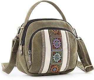 Silkarea Canvas Small Crossbody Bag Cell Phone Purse for Women Mini Shoulder Bags Handbags Wristlet Wallet Bag