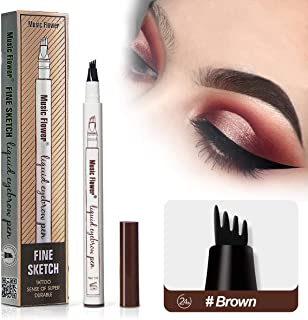 Microblading Tattoo Eyebrow Pen with Four Tips,Waterproof Ink Gel Tint Drawing Eyebrow Pencil,Long Lasting Smudge-Proof Natural Hair-Like Defined Brows All Day (Brown)