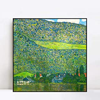 INVIN ART Framed Canvas Giclee Print Art Litzlberg on Lake Attersee,Austria.1915 by Gustav Klimt Wall Art Living Room Home Office Decorations(Black Slim Frame,28