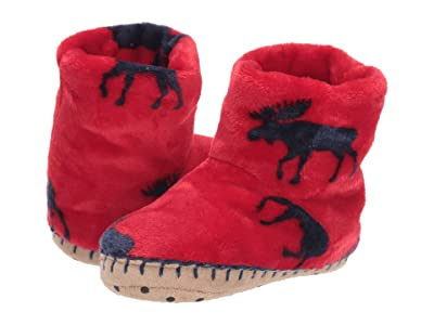 Hatley Kids Moose Gathering Fleece Slippers (Toddler/Little Kid) (Red) Boy