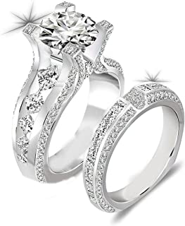 Newshe Wedding Rings for Women Engagement Ring Band Sets 3ct Round Cz 925 Sterling Silver Size 5-10
