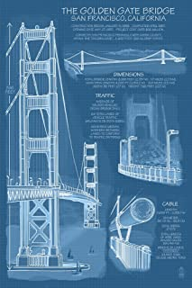 Golden Gate Bridge - Technical (Blueprint) (12x18 Fine Art Print, Home Wall Decor Artwork Poster)
