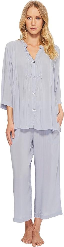 Donna Karan - Viscose Slub Woven Capris Pajama