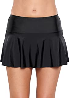 Ecosunny Women's Swimming Skirt Boardshort Waistband Solid Color Skort Bikini Bottom Swimdress