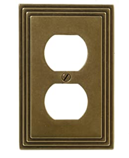 Amerelle Steps Single Duplex Cast Metal Wallplate in Rustic Brass Cast