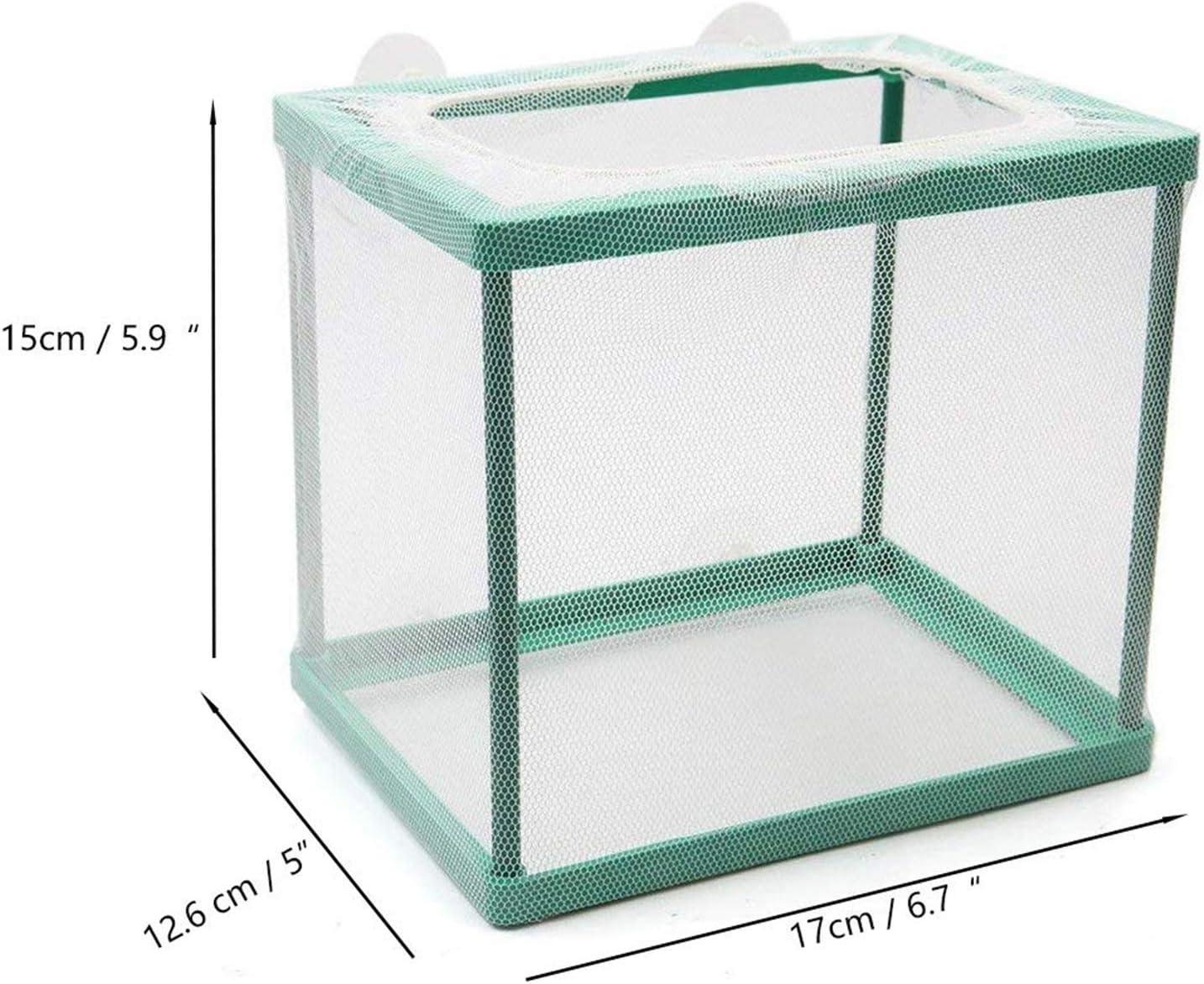 COMOK Fish Hatchery Breeder Box Aquarium Separation Net Nylon Incubator Mesh Fish Breeding Tanks Isolation Box Green Square