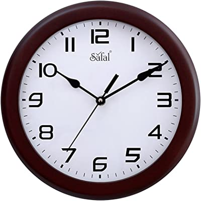 Safal Perfect Size Full Figured Round Wooden Wall Clock (23 cm x 23 cm x 5 cm, Brown)