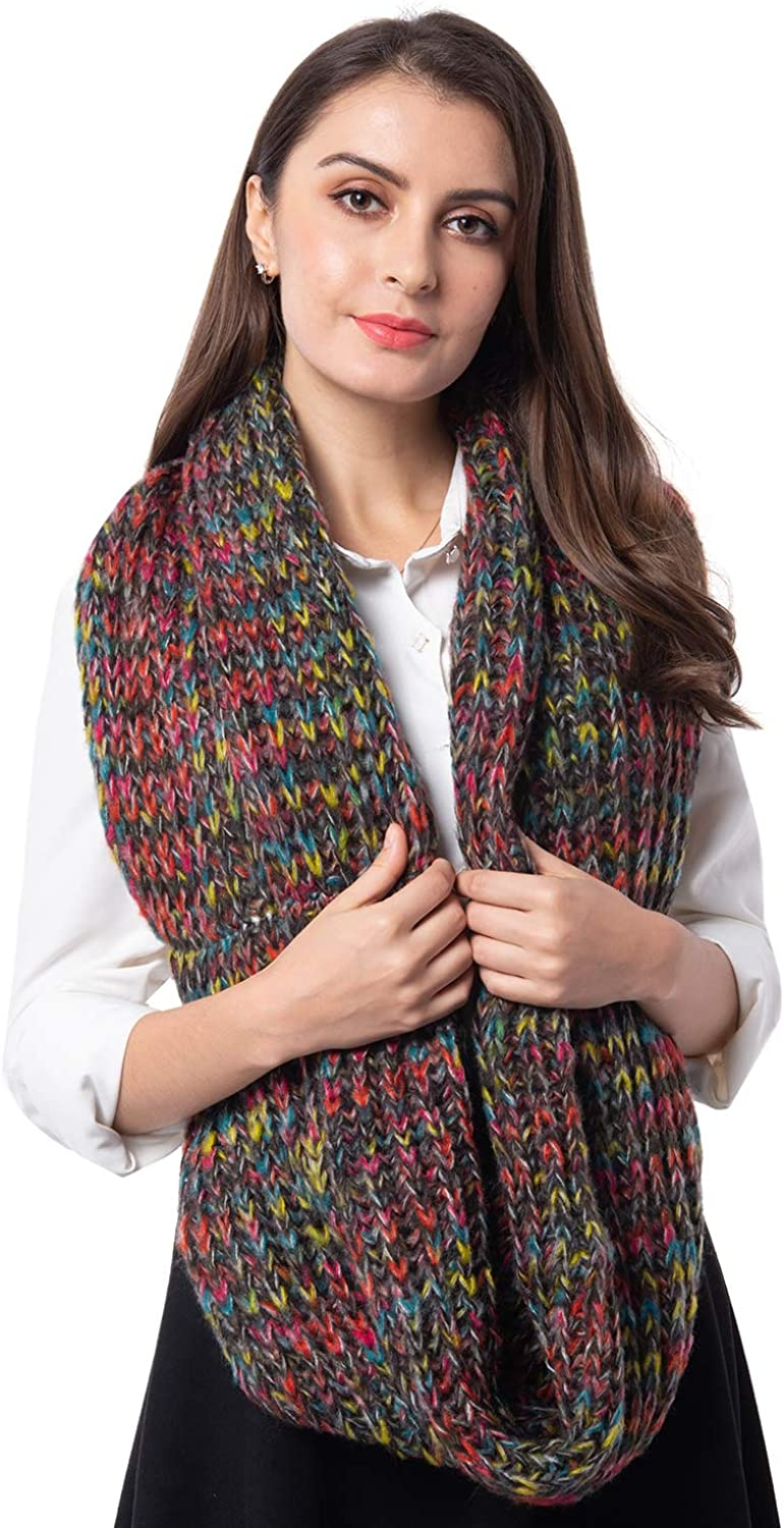 Black with Multi color Infinity Lightweight Scarf Wrap Hijabs for Women 27.96x14.96  100% Acrylic