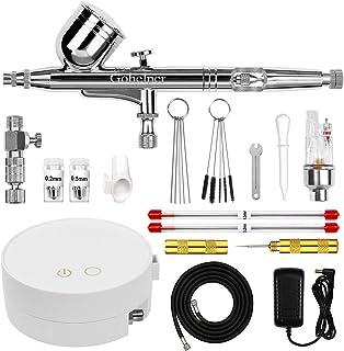 Gohelper Mini Kit Aerógrafo con Compresor modelismo Profesional Airbrush Doble Acción con limpieza 0.2 0.3 0.5 Boquillas A...