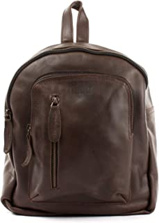 LECONI kleiner Rucksack vintage Stadtrucksack Rindsleder Damenrucksack backpack Cityrucksack natur für Damen  Herren Lederrucksack aus echtem Leder 27x30x11cm LE1011