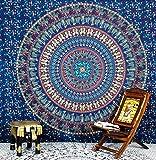 Tapiz Hipistry Hub con estampados de Mandala, camellos, elefantes y pavos reales, para colgar en la pared, como manta hippie, para la playa o como colcha, color marrón, algodón, azul, 220*240 cms