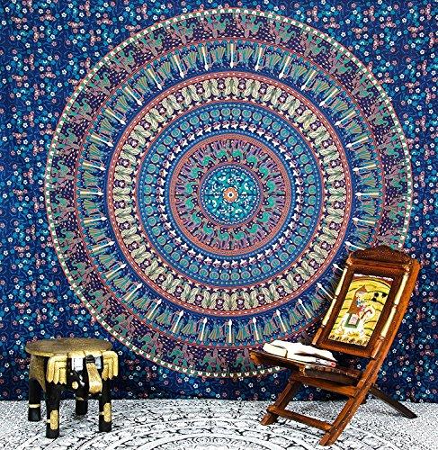 Large Blue Elephant Mandala Tapestry Wall Hanging, Indian Cotton Beach...
