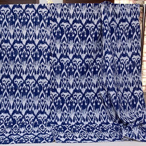Shopolics Navy Blue and White Handmade Indigo Kantha Quilt-4362 Indian Quilt, Razai, Jaipuri Razai, Blanket, Quilt