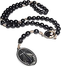 Saint Faustina Kowalska Mystic Visionary True Relic Chaplet Apostle Divine of Mercy with Miraculous Medal Jesus I Trust in You Chaplet Three O' Clock Prayer Poland Polish Novena (Black on The Cord)
