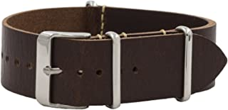 NATO Watch Band - Vegetable Tanned Leather Strap - 18mm, 20mm & 22mm - Multiple Colors