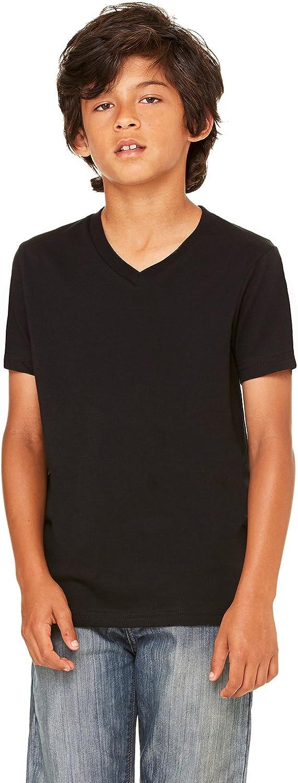 Bella Boys Jersey Short-Sleeve V-Neck Tee(3005Y)-Black-M