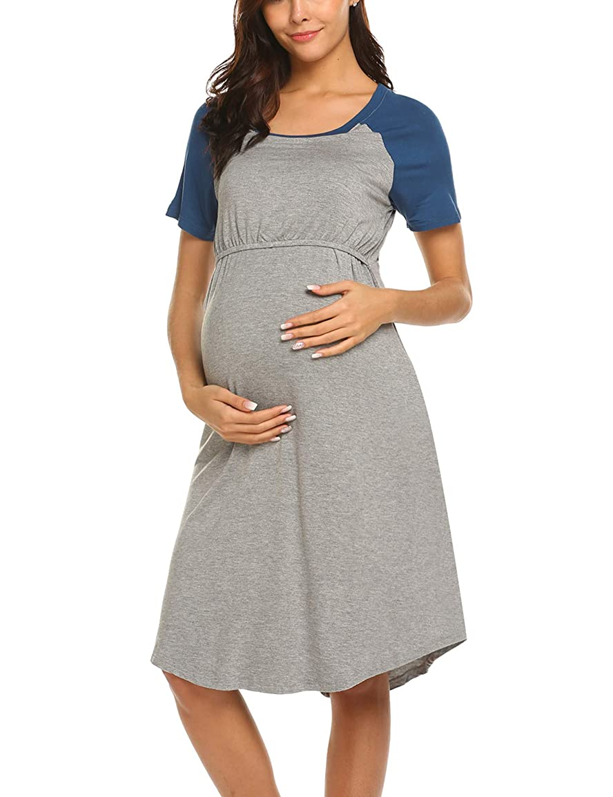 4aedc183919f4 Ekouaer Women's Maternity Dress Nursing Nightgown for Breastfeeding  Nightshirt Sleepwear S-XL