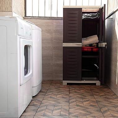 Supreme Fusion Multi Purpose Plastic Cupboard for Home (Medium Size, Globus Brown & Dark Beige)