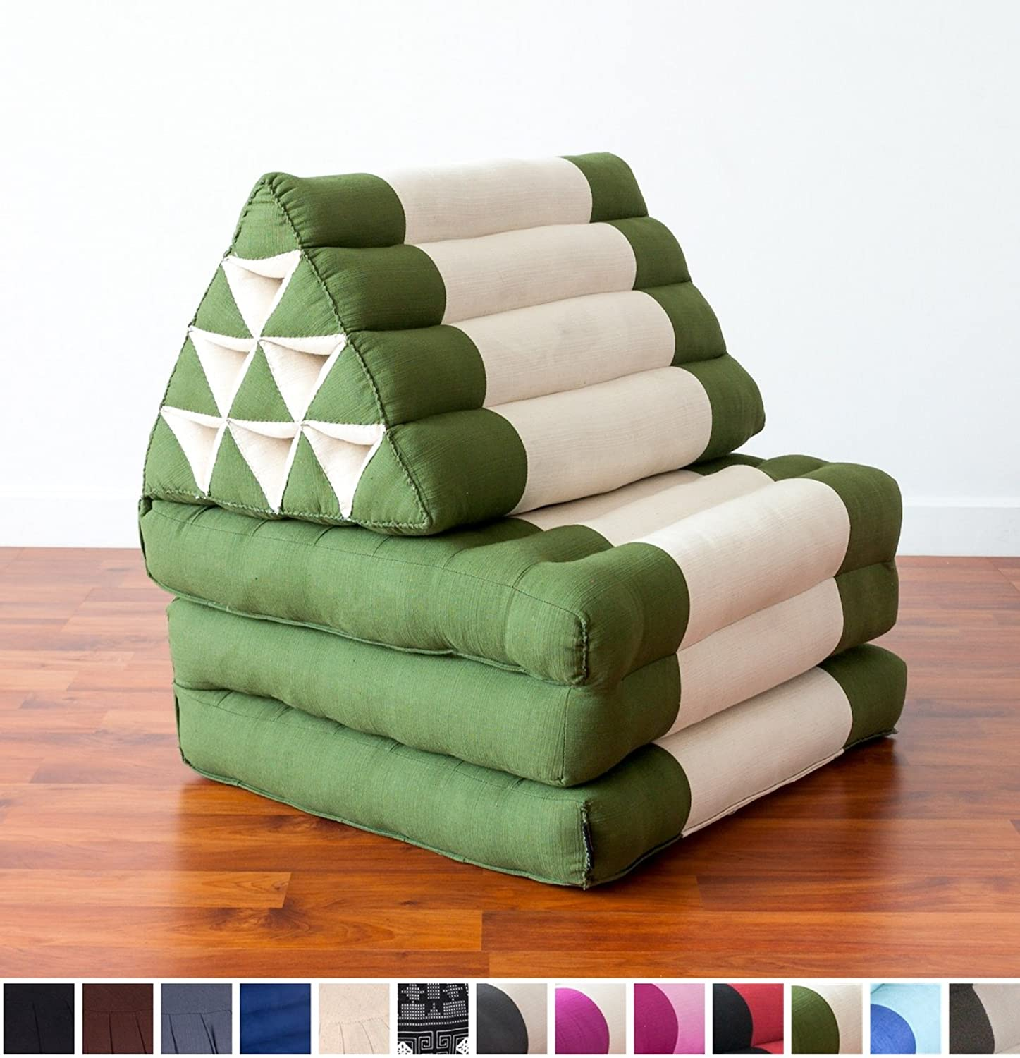 Leewadee Foldout Triangle Thai Cushion, 67x21x3 cm, Kapok Fabric, Green White, Premium Double Stitched
