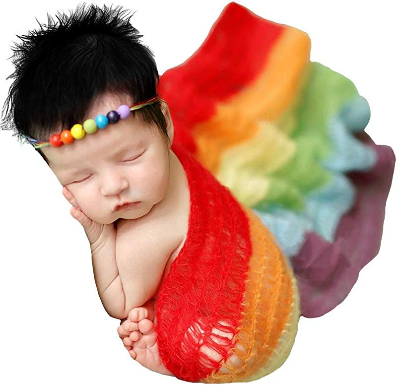 M G House Newborn Photography Props Stretch Wrap Baby Photo Props Blanket Rainbow Wrap