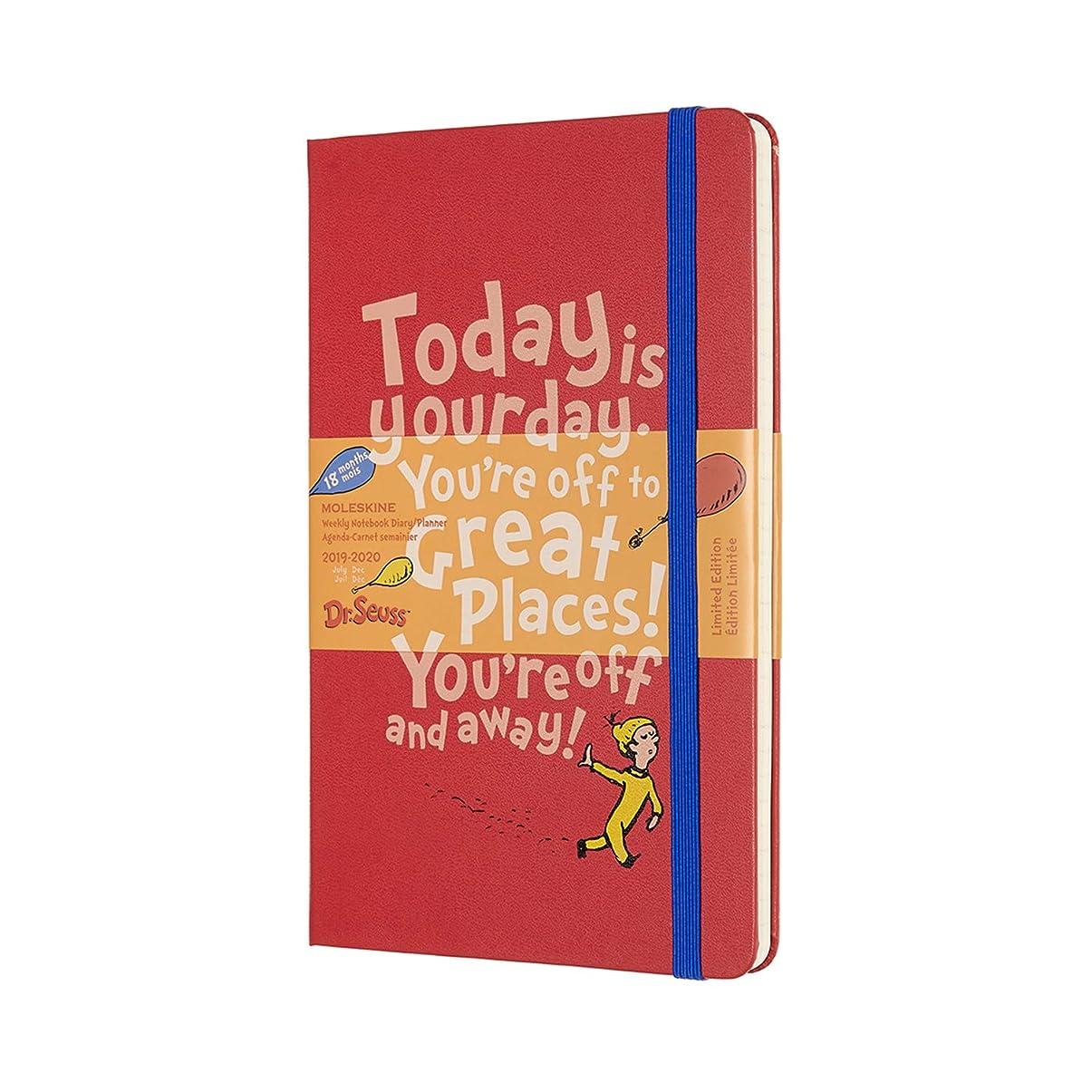 引き出しブラスト矢じりMoleskine 2019-20 Dr. Seuss Weekly Planner, 18M, Large, Red, Hard Cover (5 x 8.25)