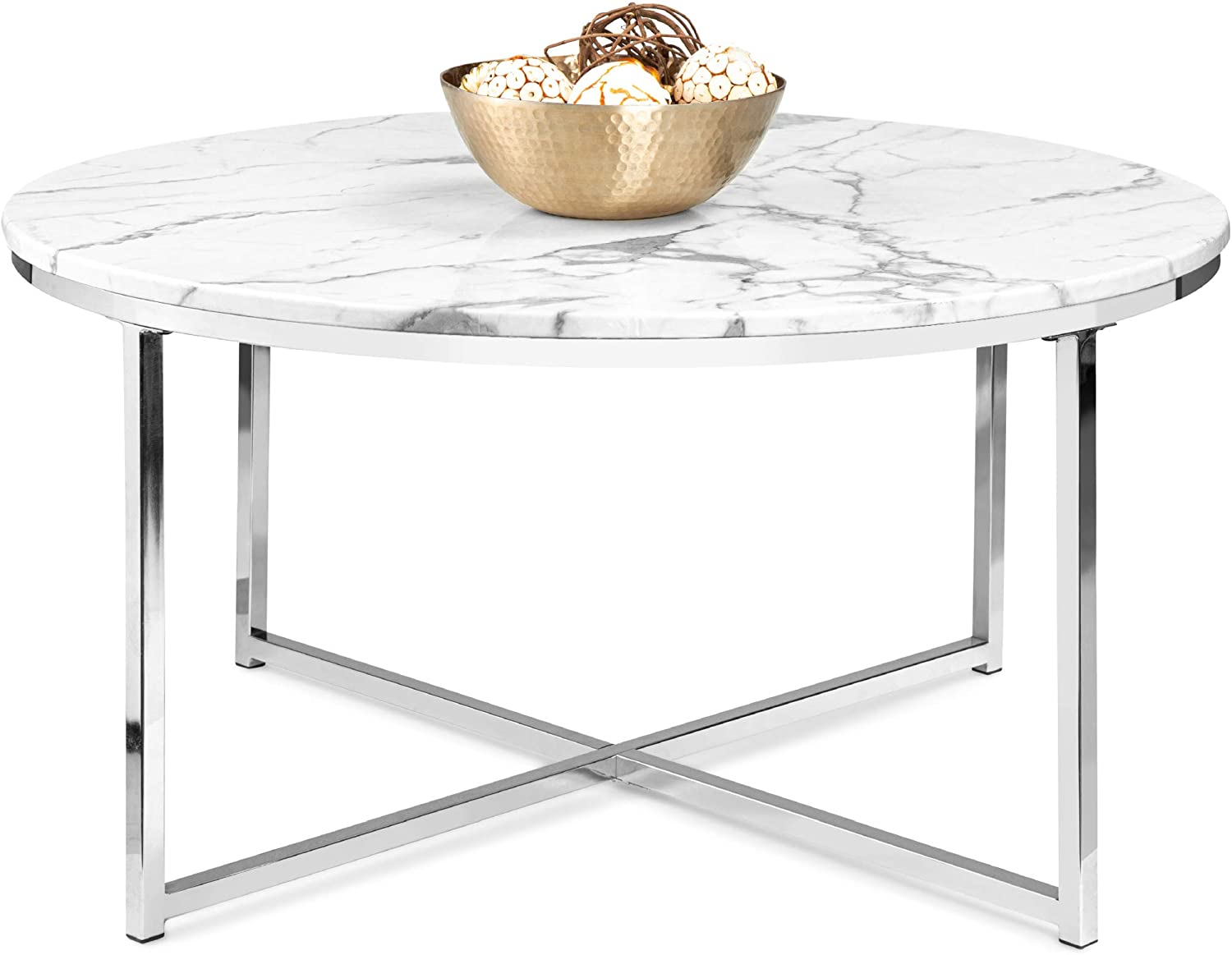 Best Choice Products 36in Faux Max 68% OFF Marble C Round Accent Modern 100% quality warranty! Side