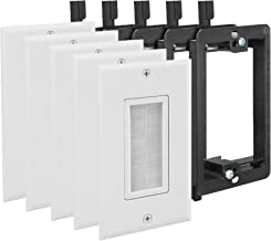 Fosmon (10 Pack) Single Gang Wall Plate, Brush Style Opening Passthrough Cable Plate with Low Voltage Mounting Bracket