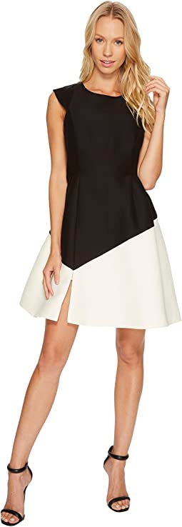 Cap Sleeve Round Neck Colorblocked Dress