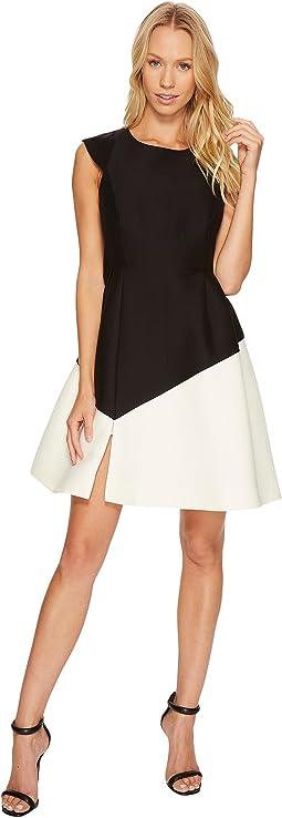 Halston Heritage Cap Sleeve Round Neck Colorblocked Dress
