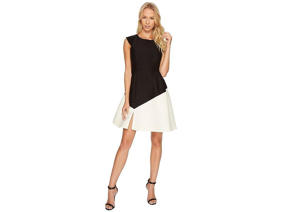 Halston Heritage Cap Sleeve Round Neck Colorblocked Dress (Black/Cream) Women