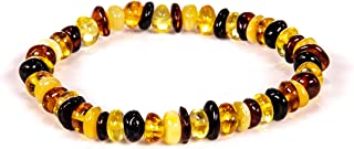 AMBERAGE Natural Baltic Amber Bracelet for Adults (Women/Men) - Hand Made from Polished/Certified Baltic Amber Beads(2Colors)