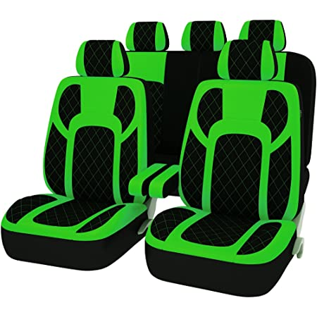 CAR PASS 11PCS Insparation Universal Seat Covers Set Package-Universal fit for Vehicles,Cars With 5mm Composite Sponge Inside,Airbag Compatiable NEW ARRIVAL Black with green color