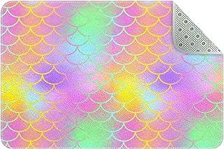 Doormat Custom Indoor Welcome Door Mat, Colorful Mermaid Scales Home Decorative Entry Rug Garden/Kitchen/Bedroom Mat Non-S...