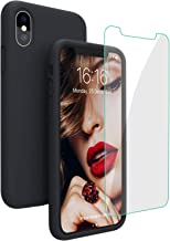 Compatible with iPhone Xs/X Case, iPhone 10 Case, JASBON Liquid Silicone Phone Case with Free Screen Protector Gel Rubber Shockproof Cover Full Protective Case for Apple iPhone Xs/X-Black