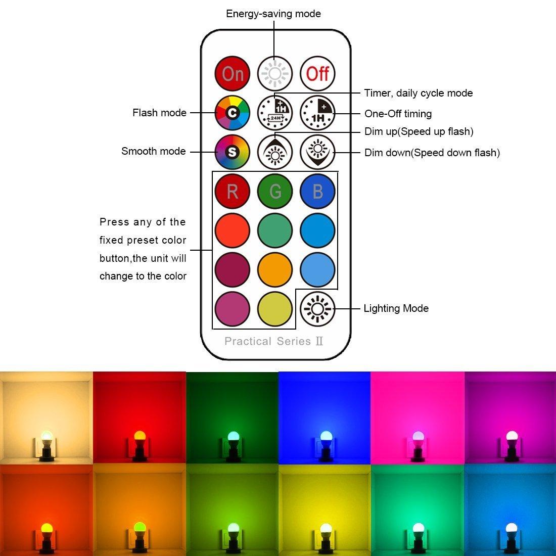iLC Bombilla LED Foco GU10 Colores RGBW Bombillas spot Cambio de ...