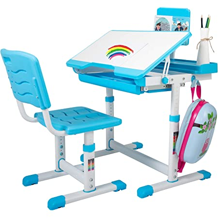 UJGYH SIMBR Kids Desk and Chair Set Height Adjustable Ergonomic Student Study Desk and Chair Set Blue, 65x65x110cm Kids Bedroom Furniture for Student Study Writing Playing Computer Workstation