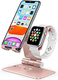 Cell Phone Stand for Apple Watch - OMOTON 2 in 1 Aluminum Foldable Charging Dock Stand for Apple Watch 5/4/3/2/1 and iPhone 11/11 Pro/11 Pro Max/XR/Xs/Xs Max (Rose Gold)