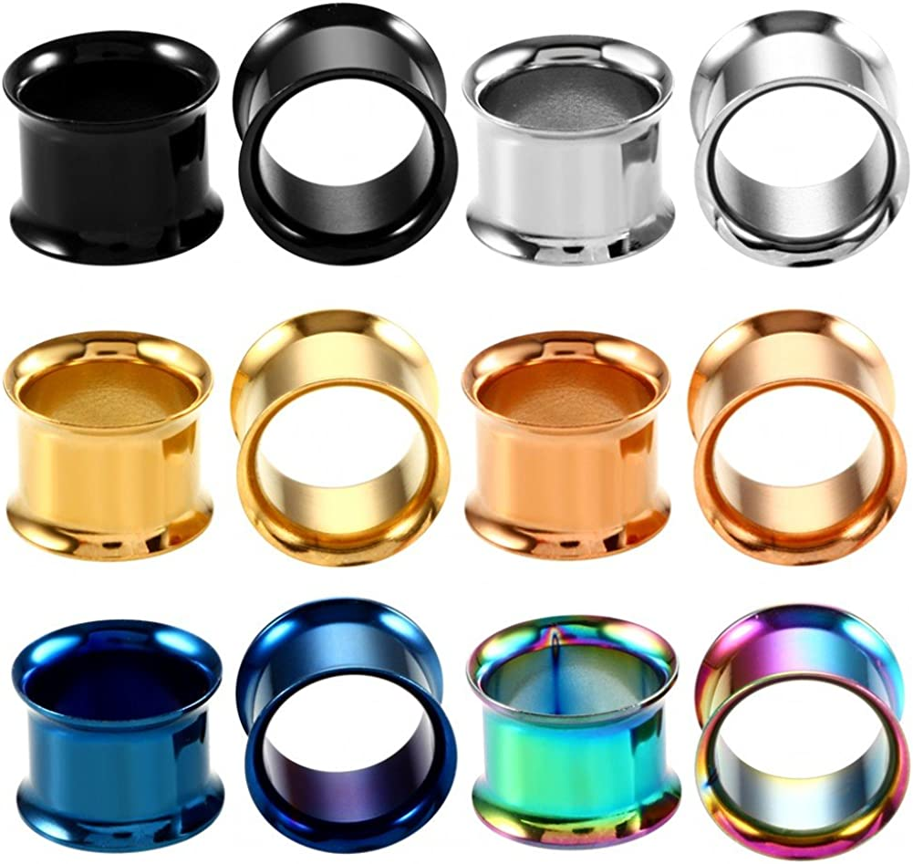IPINK-Stainless Steel Free shipping Screwed Ear Gauges Plugs Set Tunnels 12pcs Phoenix Mall