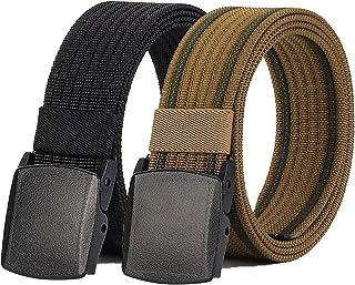 "Hoanan 2 Pack Nylon Belt Outdoor Non-Metal Mens Military Web 1.5"" Tactical Work Belt (Waist below 62"", Black+coyote Brown)"