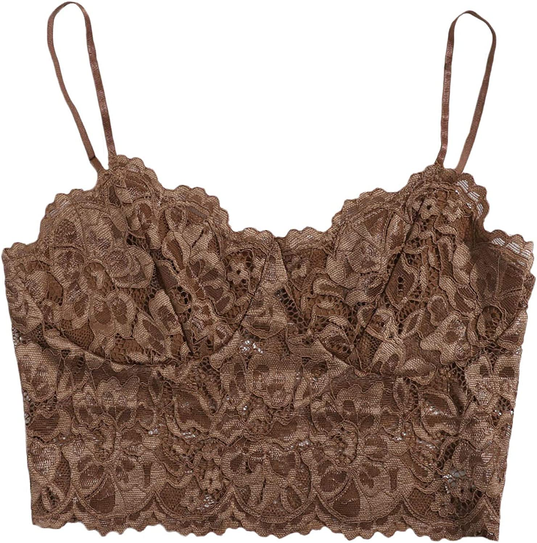 Floerns Women's Casual Lace Crochet Spaghetti Strap Tank Crop Cami Top