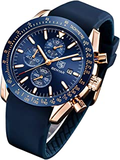 BENYAR Fashion Men's Quartz Chronograph Waterproof Silicone Watches Business Casual Sport Design Wrist Watch for Men Perfect for Father Son Black Blue Rose Gold