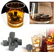 Stonges Whisky Stone Rocks Ice Drinks Cooler Cubes 9 piezas Whisky Stone Granite Set-Ideal para vino, bebidas, cerveza