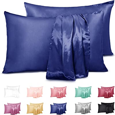 """Duerer 2 Pack Silky Satin Pillowcases for Hair and Skin Standard/Queen/King Size Pillow Case with Envelope Closure (20""""x36"""", Navy Blue)"""