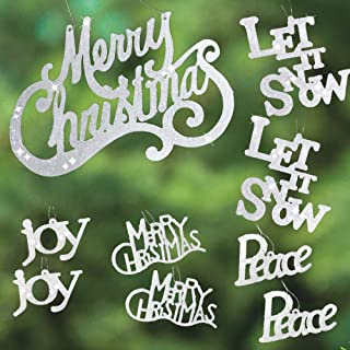 BANBERRY DESIGNS Word Sign White Christmas Ornaments - Set of 9 Glitter Ornaments - Merry Christmas - Joy - Peace - Let it Snow